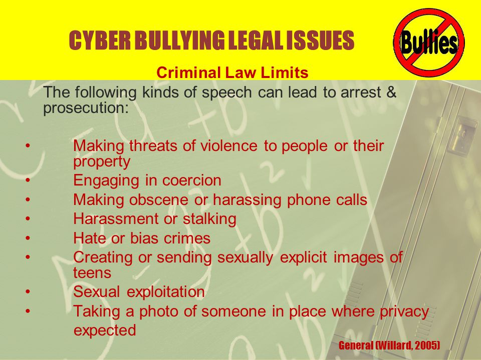 CYBER BULLYING LEGAL ISSUES Criminal Law Limits The following kinds of speech can lead to arrest & prosecution: Making threats of violence to people or their property Engaging in coercion Making obscene or harassing phone calls Harassment or stalking Hate or bias crimes Creating or sending sexually explicit images of teens Sexual exploitation Taking a photo of someone in place where privacy expected General (Willard, 2005)