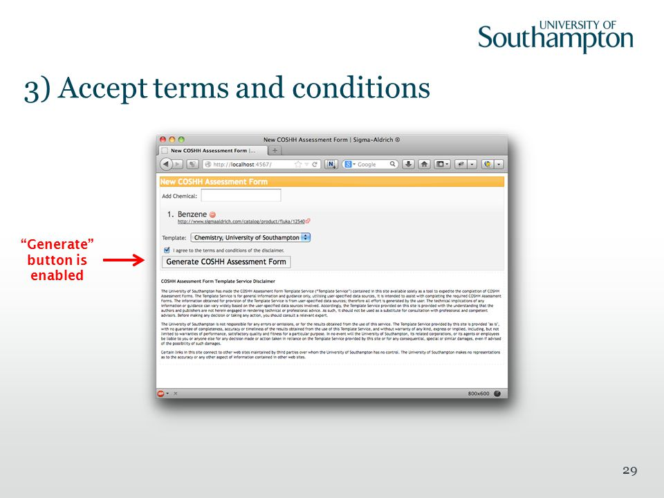 "3) Accept terms and conditions 29 ""Generate"" button is enabled"