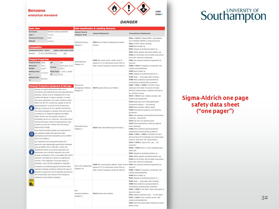 "32 Sigma-Aldrich one page safety data sheet (""one pager"")"