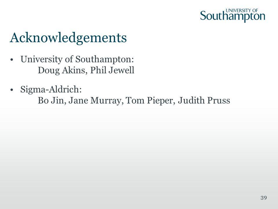 Acknowledgements University of Southampton: Doug Akins, Phil Jewell Sigma-Aldrich: Bo Jin, Jane Murray, Tom Pieper, Judith Pruss 39