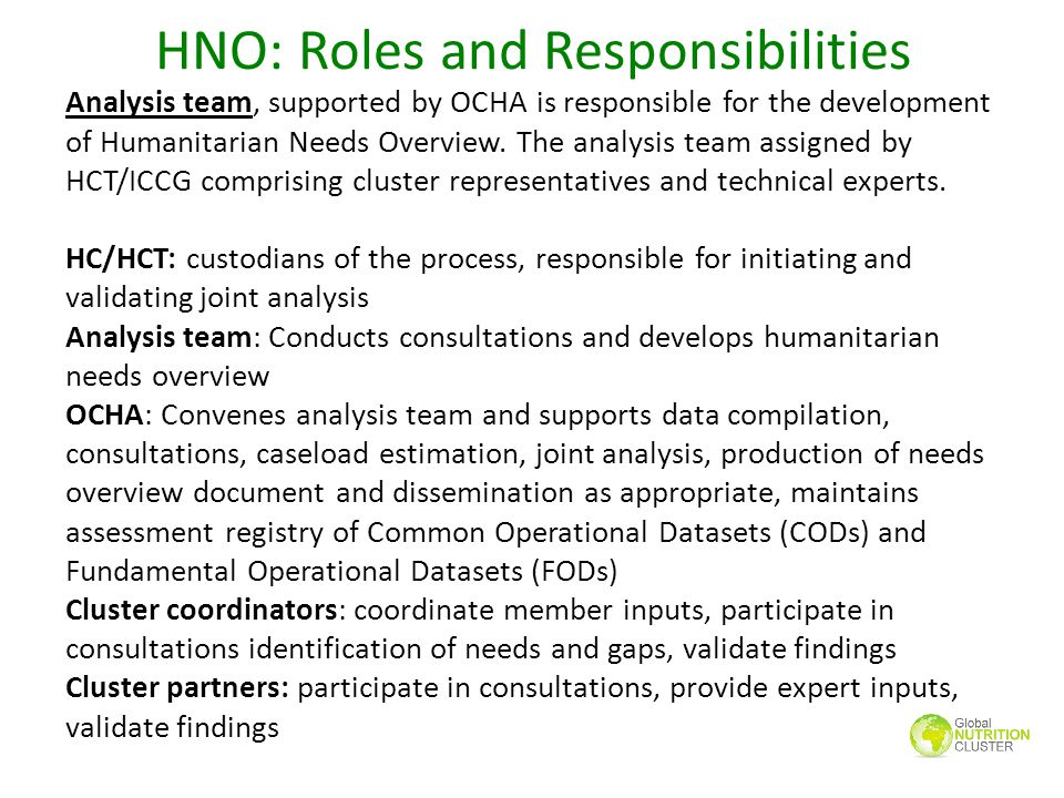 HNO: Roles and Responsibilities Analysis team, supported by OCHA is responsible for the development of Humanitarian Needs Overview. The analysis team
