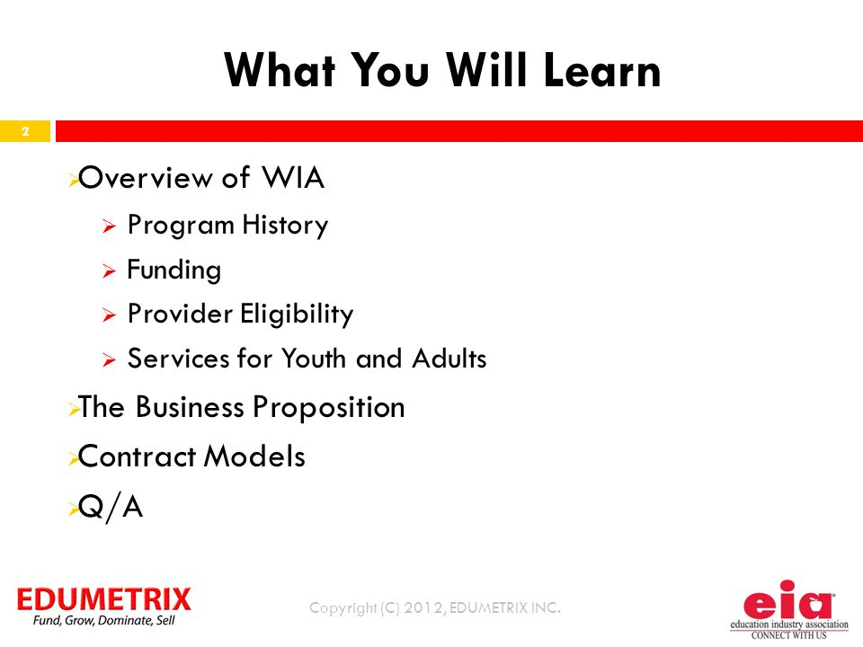 What You Will Learn Copyright (C) 2012, EDUMETRIX INC.