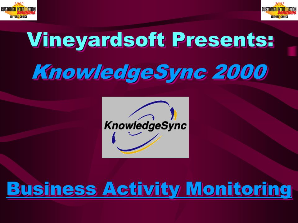 Vineyardsoft Presents: Business Activity Monitoring KnowledgeSync 2000