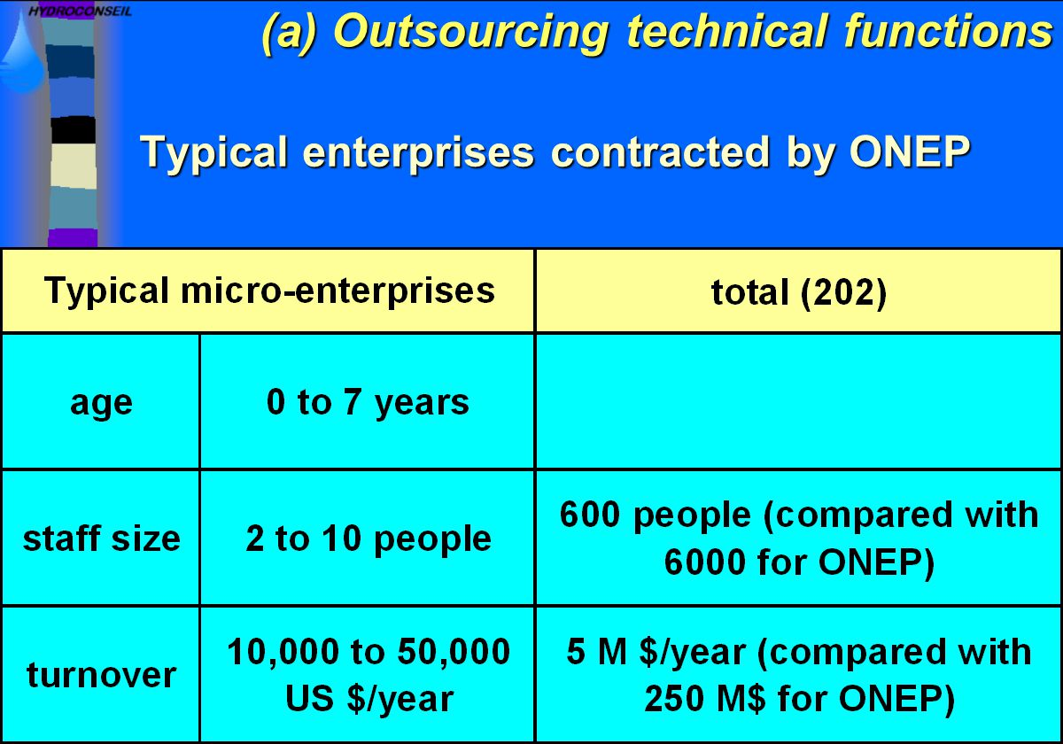 Typical enterprises contracted by ONEP (a) Outsourcing technical functions