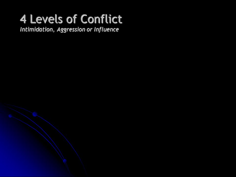 4 Levels of Conflict Intimidation, Aggression or Influence