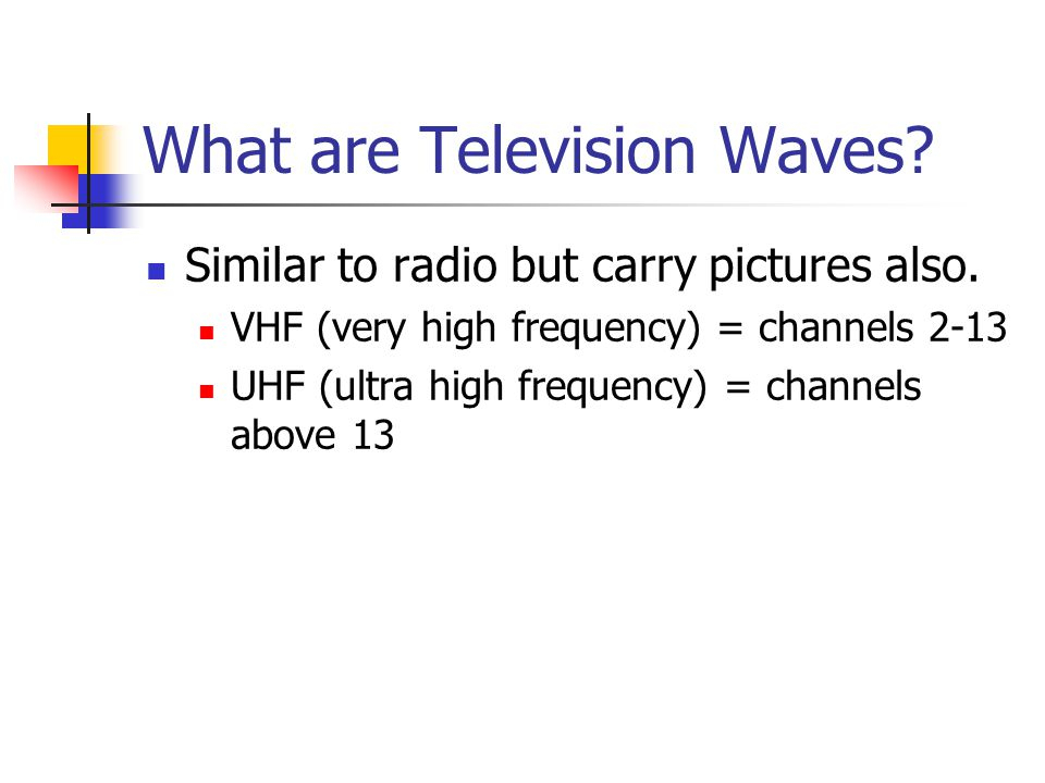 What are Television Waves. Similar to radio but carry pictures also.
