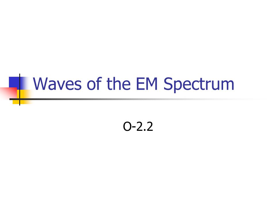 Waves of the EM Spectrum O-2.2