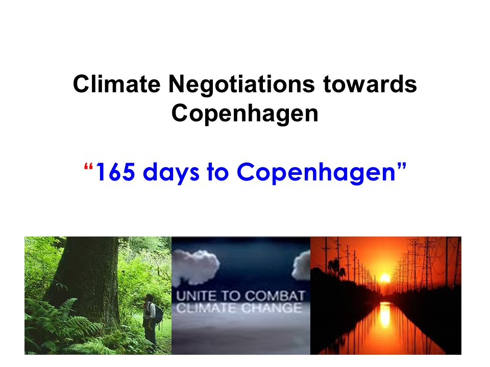 Climate Negotiations towards Copenhagen 165 days to Copenhagen