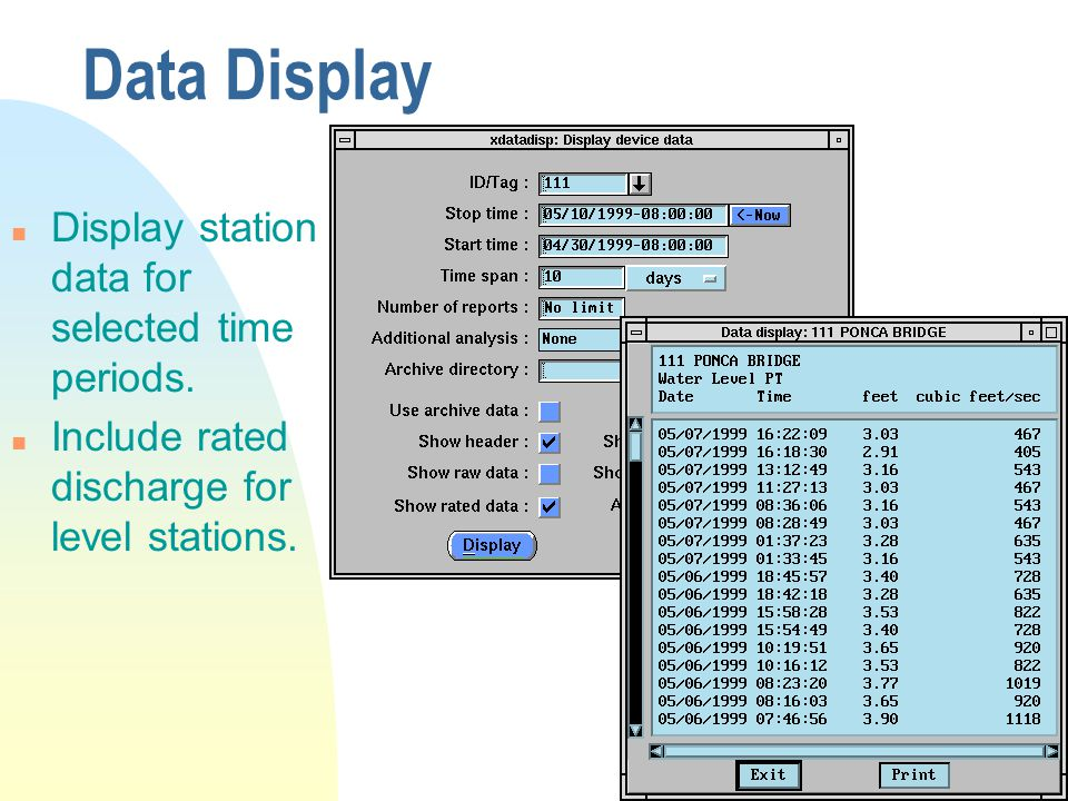 Data Display n Display station data for selected time periods.