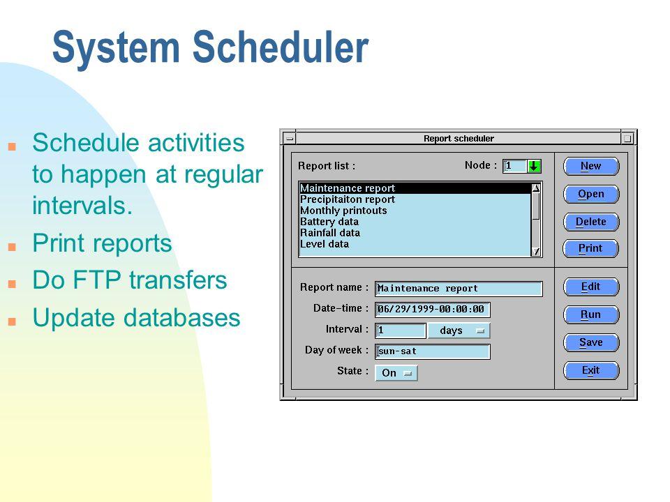 System Scheduler n Schedule activities to happen at regular intervals.