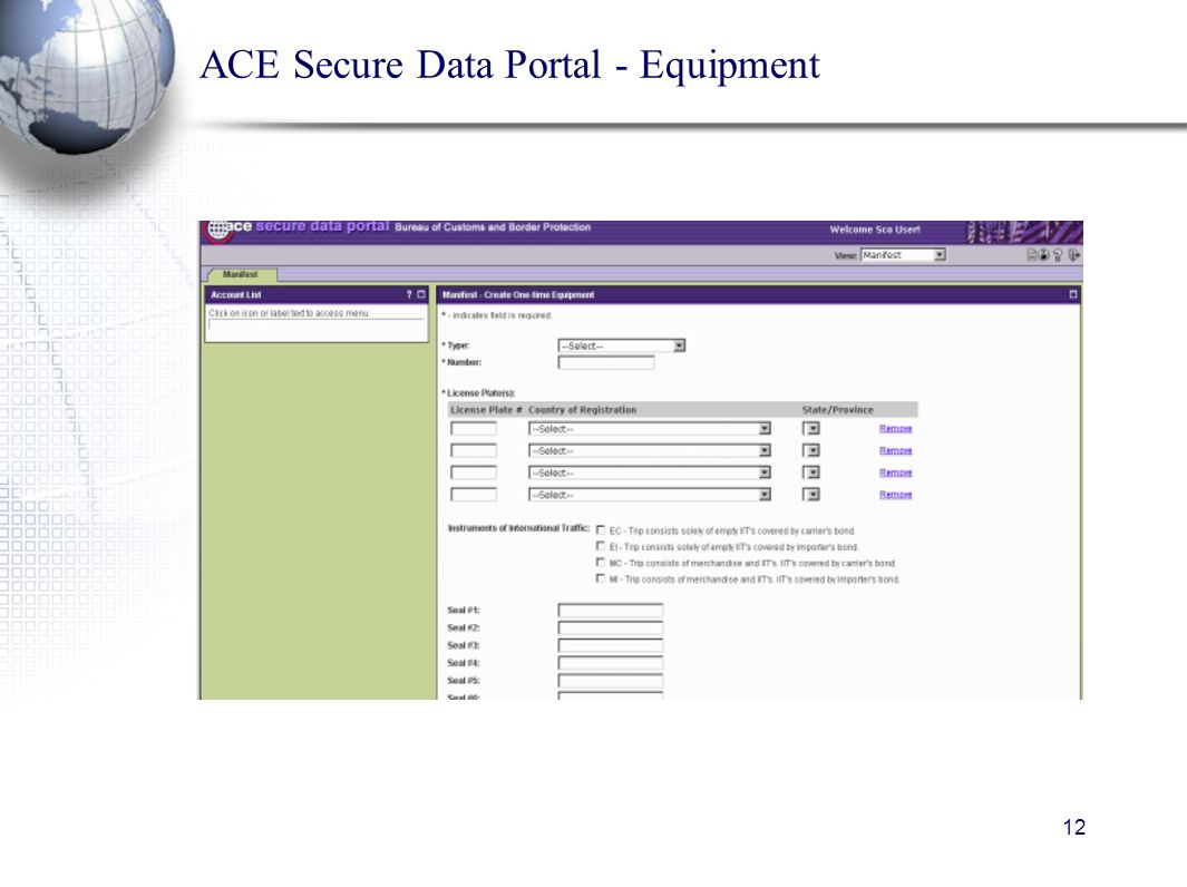 12 ACE Secure Data Portal - Equipment