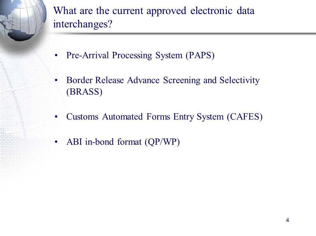 5 Future Electronic Data Interchange e-Manifest or Truck Automated Manifest System e-Manifest will initially become the preferred method of electronic manifest notification e-Manifest will become mandatory