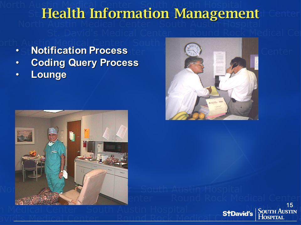 15 Health Information Management Notification ProcessNotification Process Coding Query ProcessCoding Query Process LoungeLounge