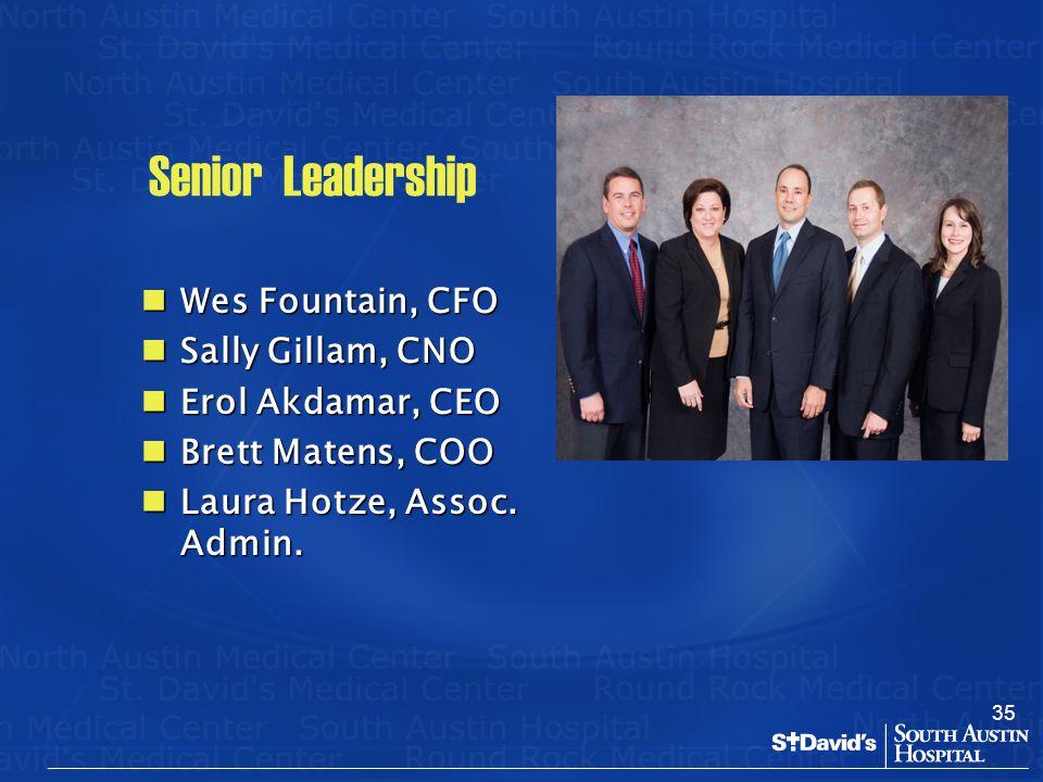 35 Senior Leadership Wes Fountain, CFO Wes Fountain, CFO Sally Gillam, CNO Sally Gillam, CNO Erol Akdamar, CEO Erol Akdamar, CEO Brett Matens, COO Bre