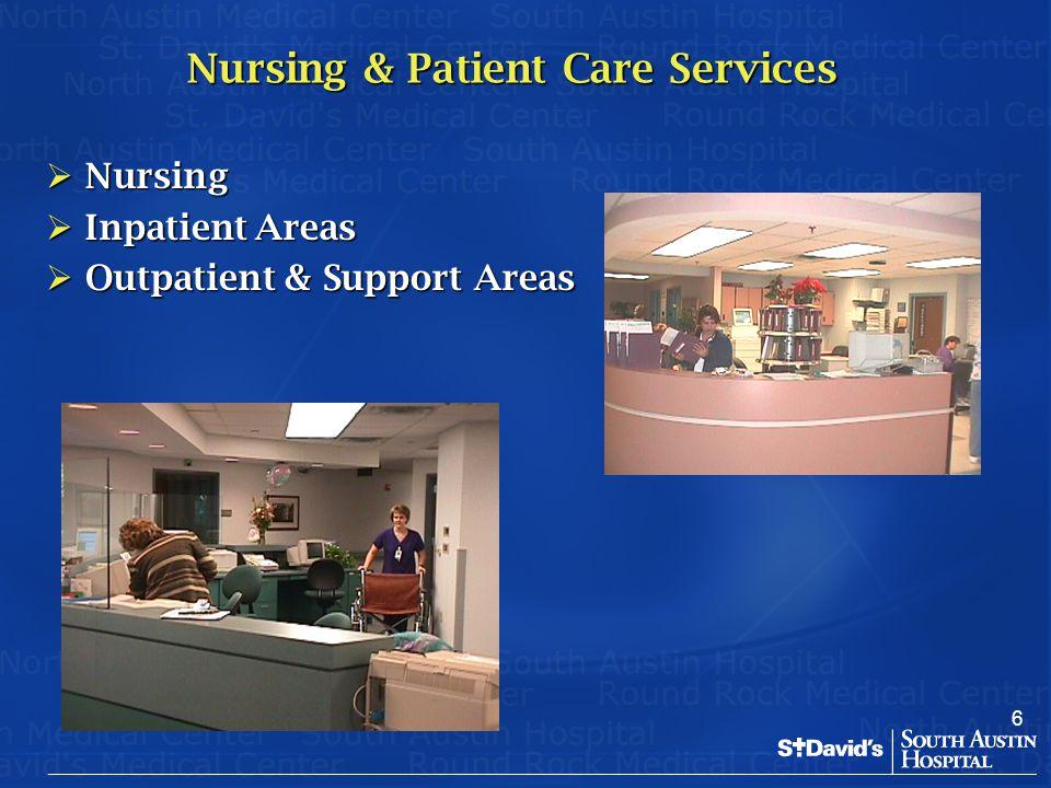 6 Nursing & Patient Care Services  Nursing  Inpatient Areas  Outpatient & Support Areas