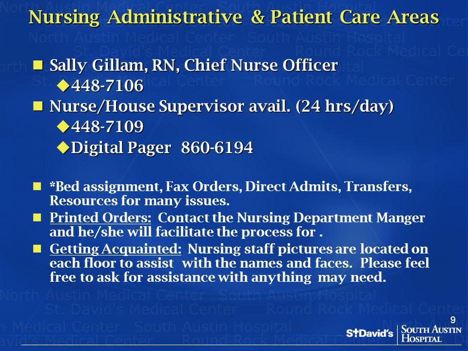 9 Nursing Administrative & Patient Care Areas Sally Gillam, RN, Chief Nurse Officer Sally Gillam, RN, Chief Nurse Officer  448-7106 Nurse/House Super
