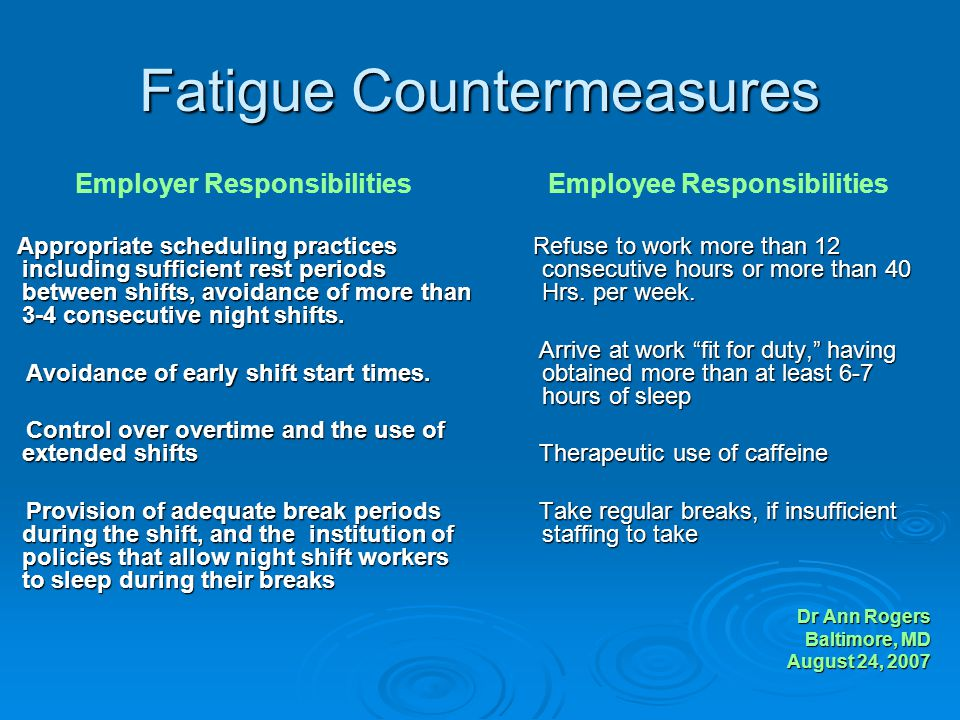 Fatigue Countermeasures Employer Responsibilities Appropriate scheduling practices including sufficient rest periods between shifts, avoidance of more