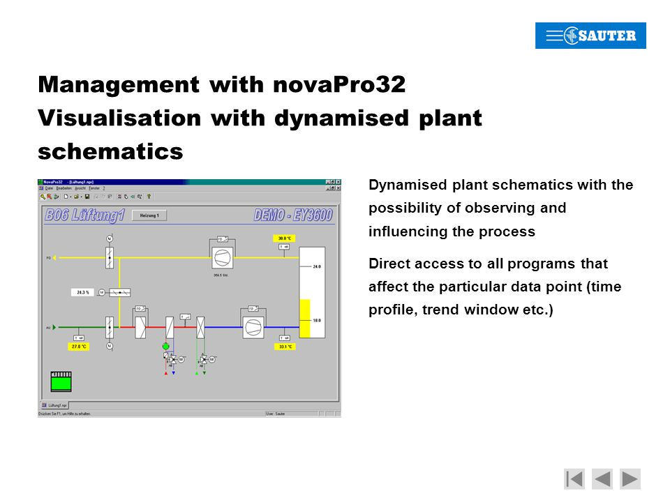 Management with novaPro32 Visualisation with dynamised plant schematics Dynamised plant schematics with the possibility of observing and influencing the process Direct access to all programs that affect the particular data point (time profile, trend window etc.)