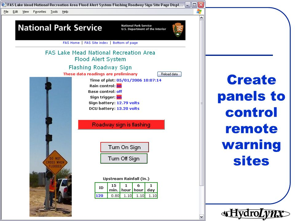Create panels to control remote warning sites