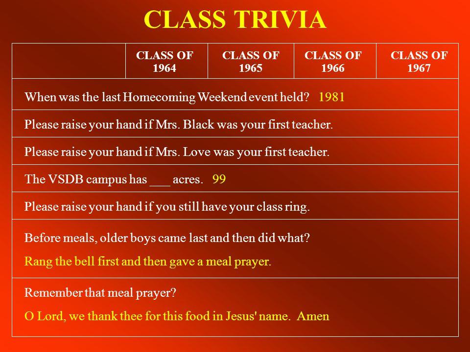 CLASS TRIVIA CLASS OF 1967 CLASS OF 1966 CLASS OF 1965 CLASS OF 1964 U.S.