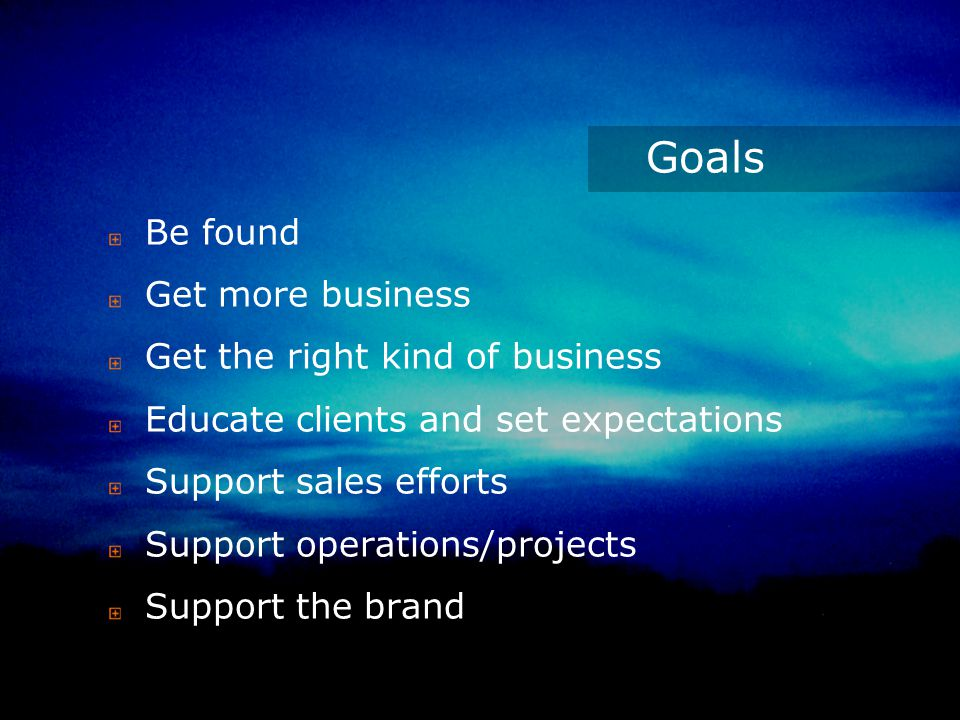 Goals Be found Get more business Get the right kind of business Educate clients and set expectations Support sales efforts Support operations/projects Support the brand