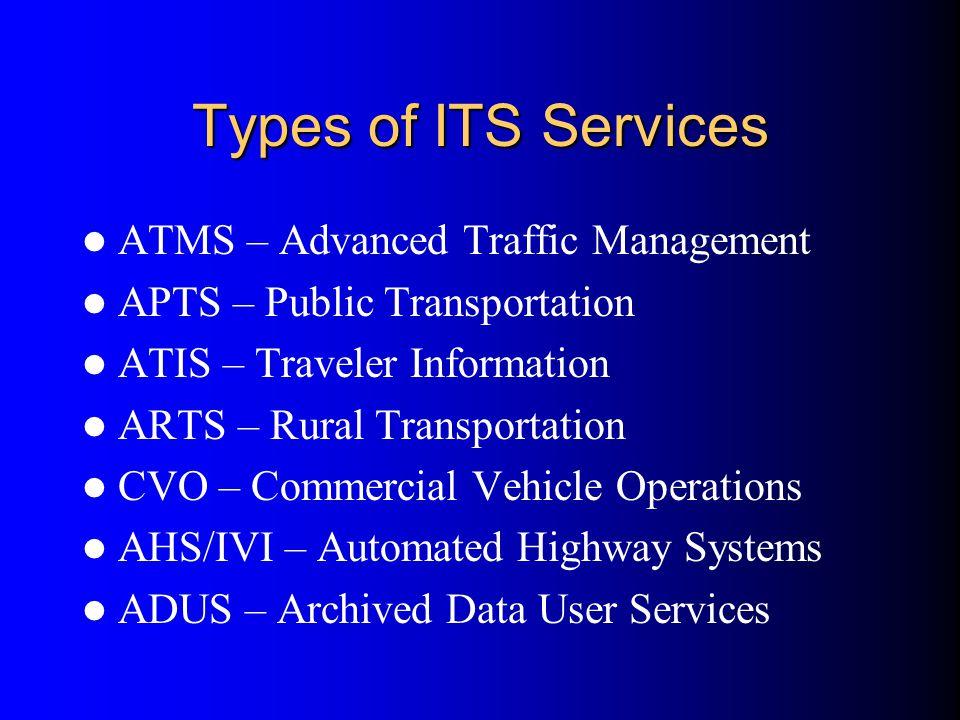 Types of ITS Services ATMS – Advanced Traffic Management APTS – Public Transportation ATIS – Traveler Information ARTS – Rural Transportation CVO – Co