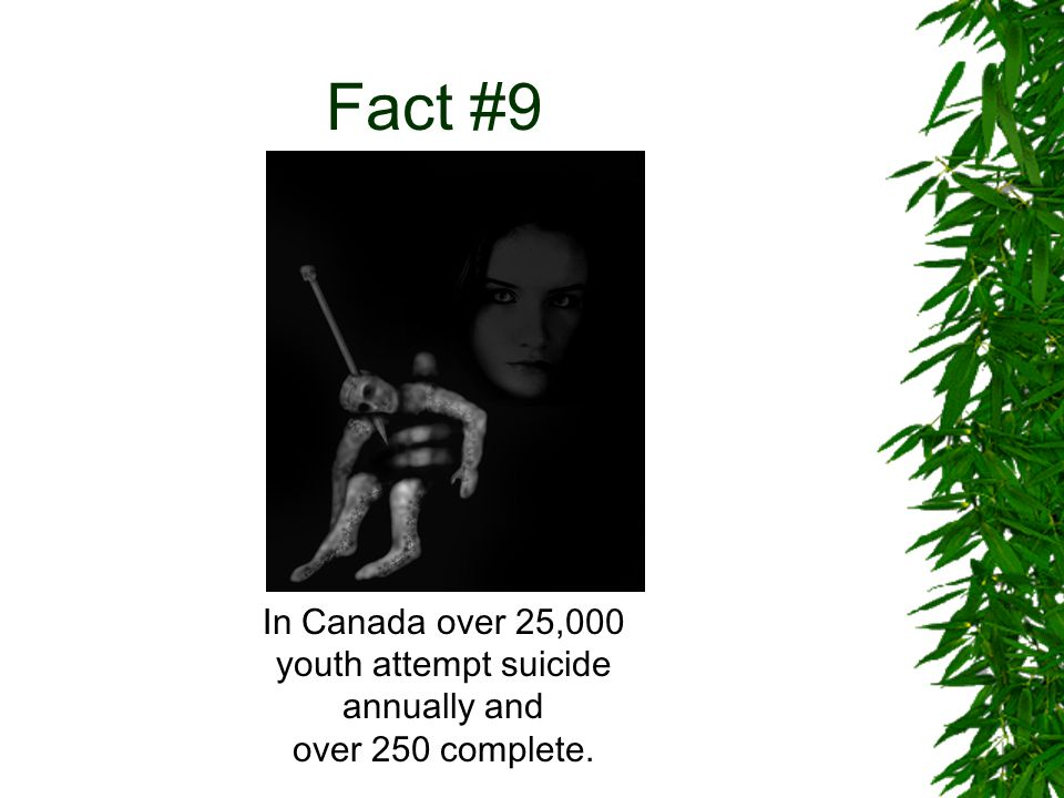 Fact #9 In Canada over 25,000 youth attempt suicide annually and over 250 complete.