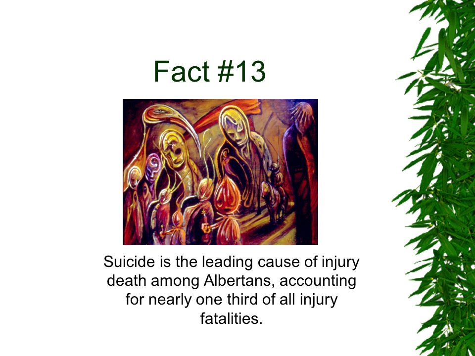 Fact #13 Suicide is the leading cause of injury death among Albertans, accounting for nearly one third of all injury fatalities.