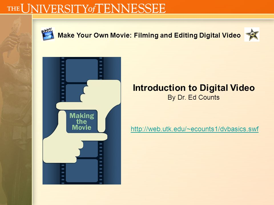 Welcome to 2008 Make Your Own Movie: Filming and Editing Digital Video July 14, 2008 – July 18, 2008 9:00 AM to Noon UT Bailey Education Complex (BEC), Room 117 Instructor: Jeff Beard (jbeard8@utk.edu) Welcome back… Go to computer you used yesterday You may open your train project and finish it Upload any music you brought to the desktop Think about How do I make a Movie? Course website: http://web.utk.edu/~jbeard8/KidsU
