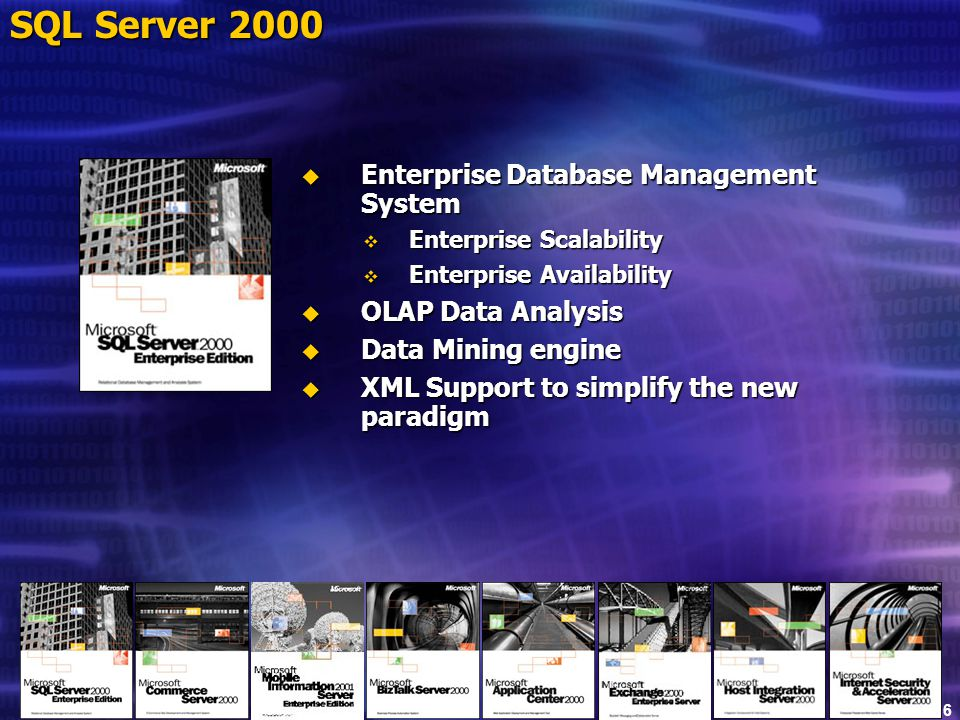 Slide 16 SQL Server 2000  Enterprise Database Management System  Enterprise Scalability  Enterprise Availability  OLAP Data Analysis  Data Mining engine  XML Support to simplify the new paradigm