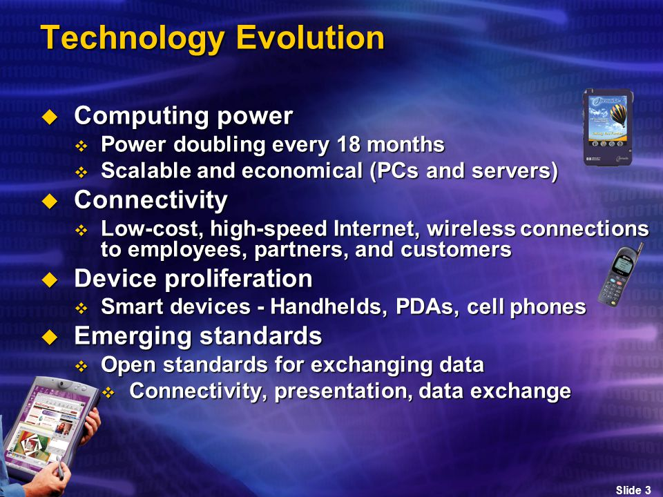 Slide 3 Technology Evolution  Computing power  Power doubling every 18 months  Scalable and economical (PCs and servers)  Connectivity  Low-cost, high-speed Internet, wireless connections to employees, partners, and customers  Device proliferation  Smart devices - Handhelds, PDAs, cell phones  Emerging standards  Open standards for exchanging data  Connectivity, presentation, data exchange
