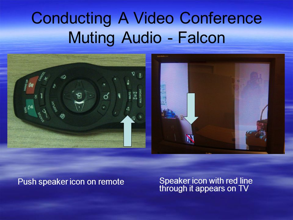 Conducting A Video Conference Muting Audio - Falcon Push speaker icon on remote Speaker icon with red line through it appears on TV