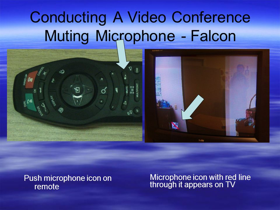 Conducting A Video Conference Muting Microphone - Falcon Push microphone icon on remote Microphone icon with red line through it appears on TV