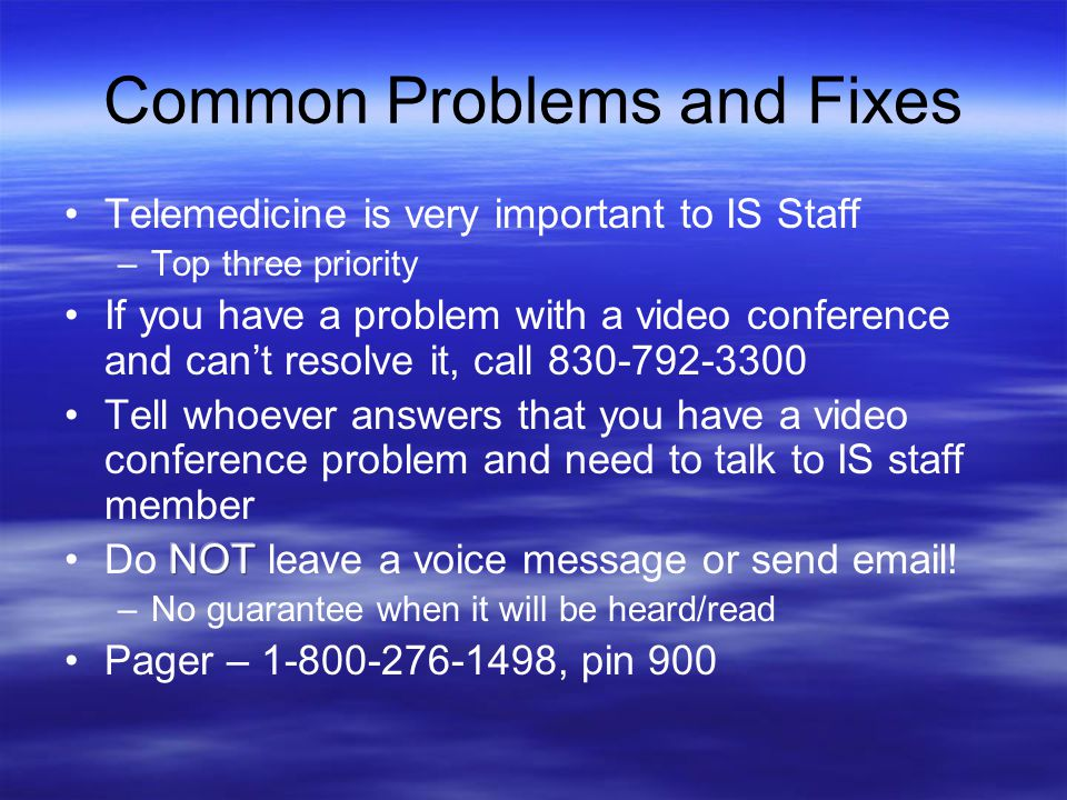 Common Problems and Fixes