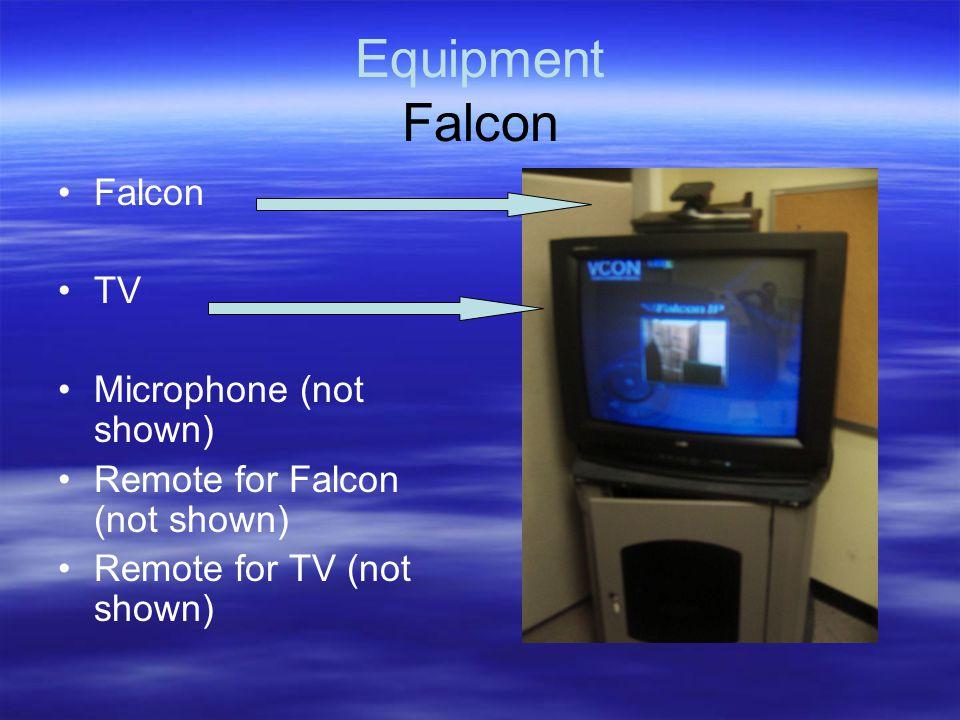 Equipment Falcon Falcon TV Microphone (not shown) Remote for Falcon (not shown) Remote for TV (not shown)