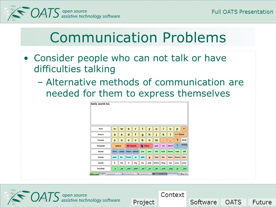 Full OATS Presentation Communication Problems Consider people who can not talk or have difficulties talking –Alternative methods of communication are needed for them to express themselves Project Context SoftwareOATSFuture