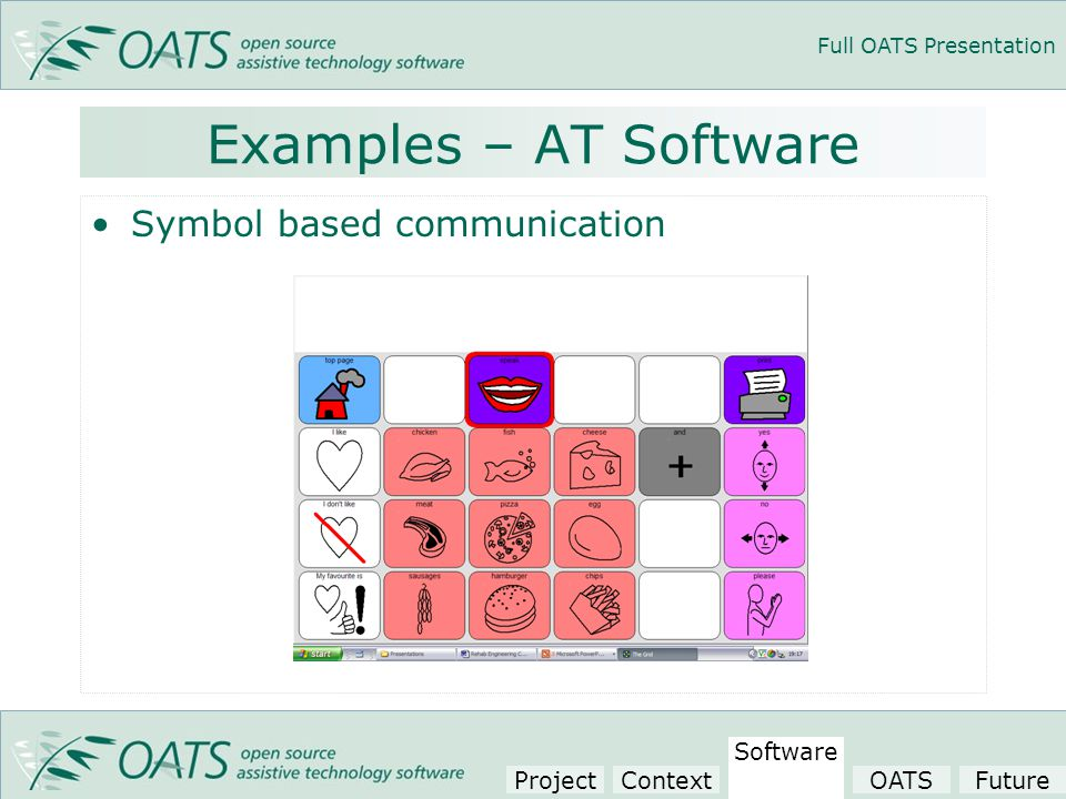 Full OATS Presentation Examples – AT Software Symbol based communication Project Context Software OATSFuture