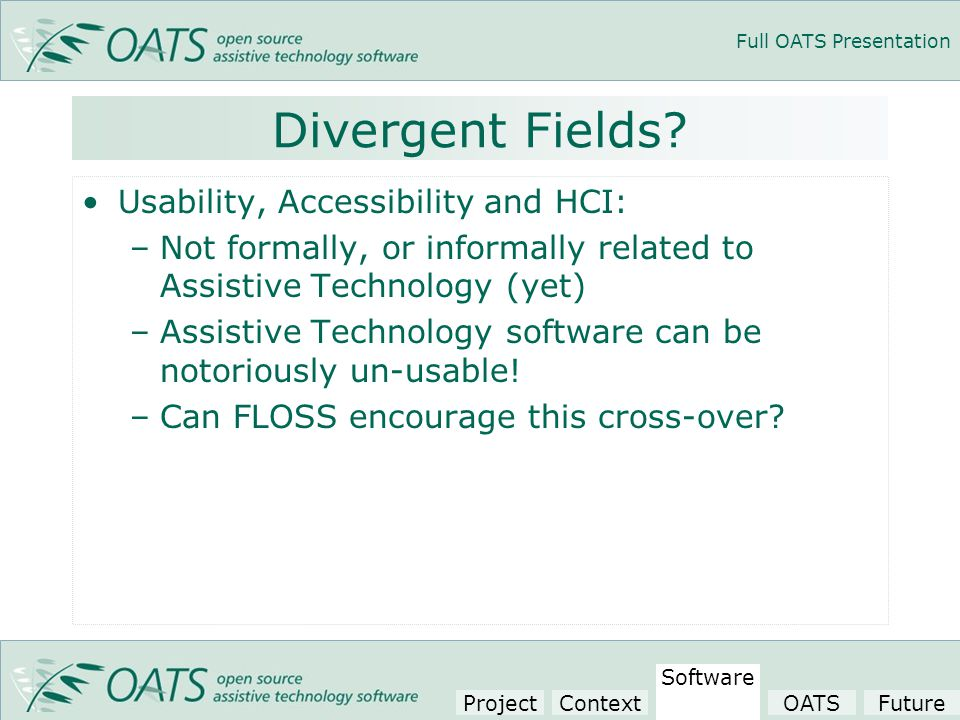 Full OATS Presentation Divergent Fields.