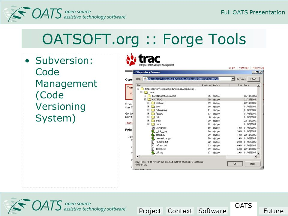Full OATS Presentation OATSOFT.org :: Forge Tools Subversion: Code Management (Code Versioning System) Project Context Software OATS Future