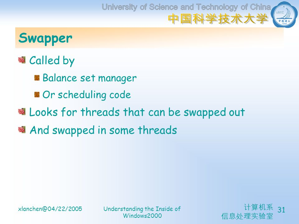 计算机系 信息处理实验室 xlanchen@04/22/2005Understanding the Inside of Windows2000 31 Swapper Called by Balance set manager Or scheduling code Looks for threads that can be swapped out And swapped in some threads