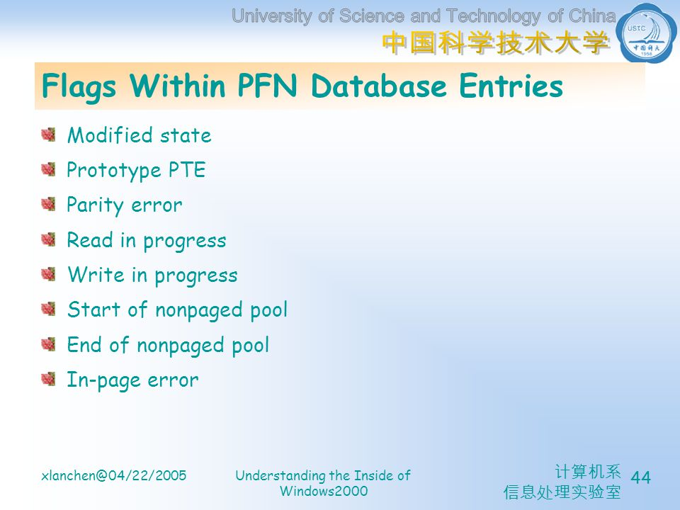 计算机系 信息处理实验室 xlanchen@04/22/2005Understanding the Inside of Windows2000 44 Flags Within PFN Database Entries Modified state Prototype PTE Parity error Read in progress Write in progress Start of nonpaged pool End of nonpaged pool In-page error