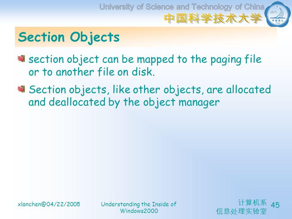 计算机系 信息处理实验室 xlanchen@04/22/2005Understanding the Inside of Windows2000 45 Section Objects section object can be mapped to the paging file or to another file on disk.