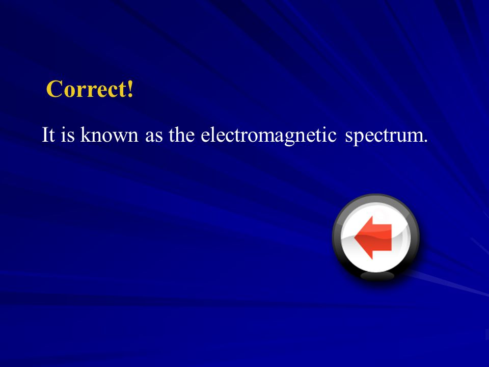 Radio Frequency Electromagnetic spectrum Light Spectrum Wave Frequencies 2 2 Section Check Question 1 Electromagnetic energy comes in a variety of wav
