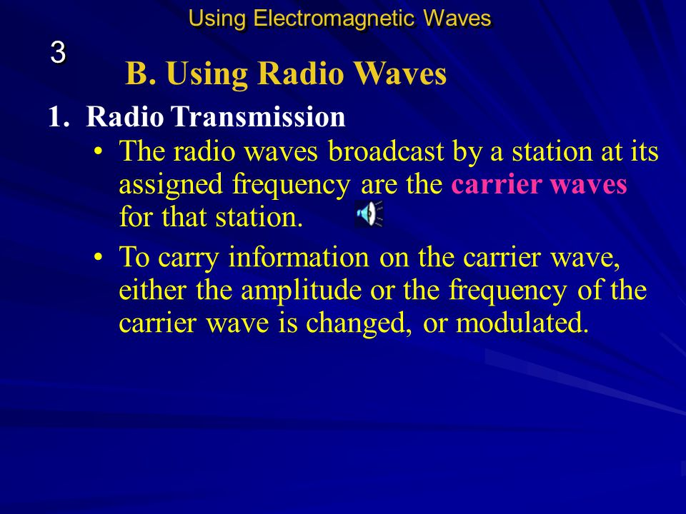 B. Using Radio Waves Using Electromagnetic Waves 3 3 This figure shows how radio waves can be used to transmit information—in this case transmitting i