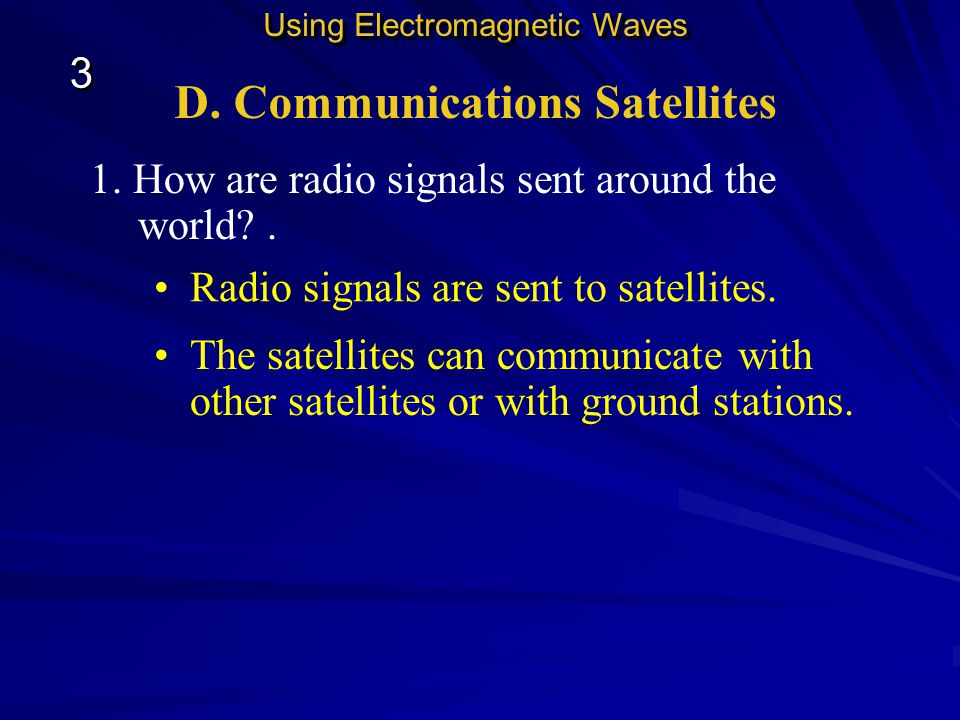 When you dial a pager, the signal is sent to a base station. Using Electromagnetic Waves 3 3 From there, an electromagnetic signal is sent to the page