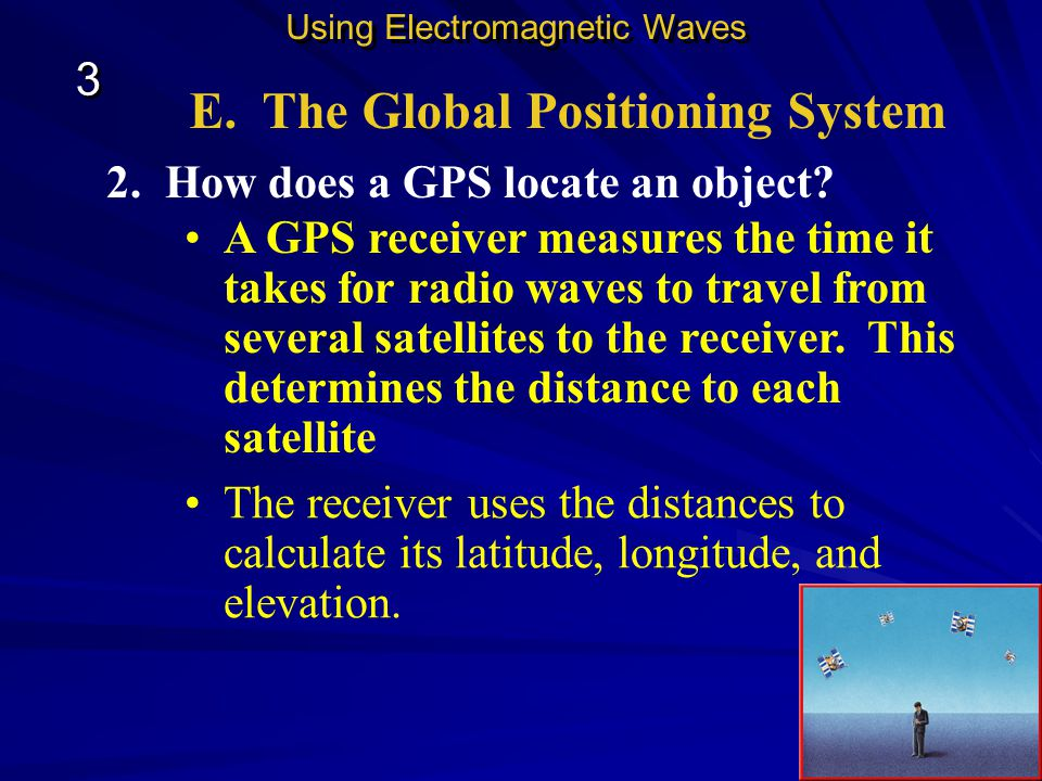 E. The Global Positioning System Global Positioning System, or GPS. GPS is used to locate objects on Earth. Using Electromagnetic Waves 3 3 The system