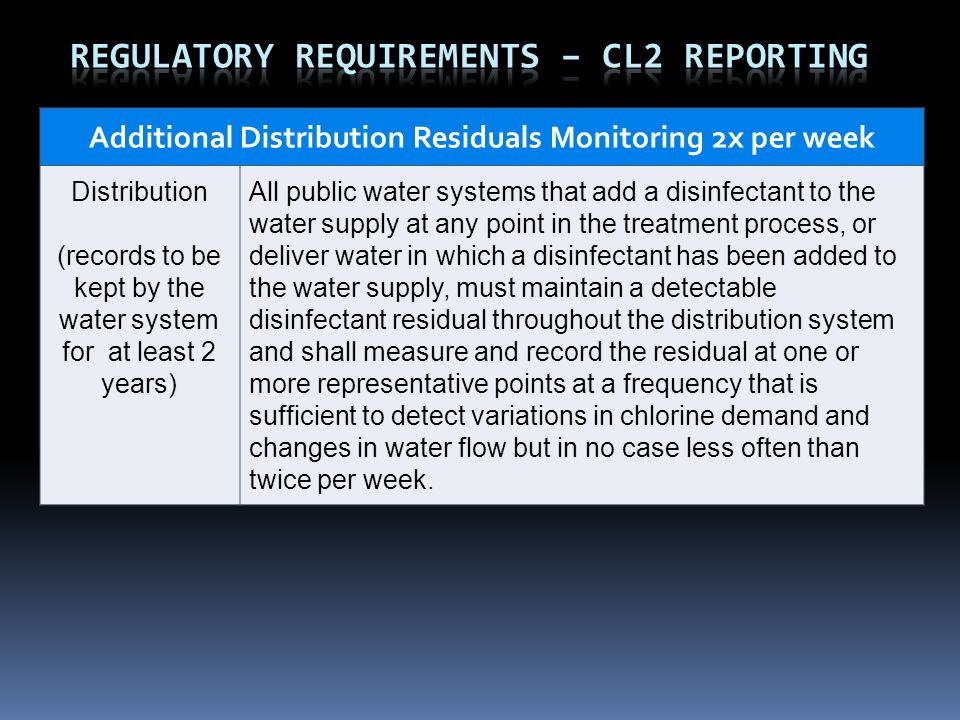 Additional Distribution Residuals Monitoring 2x per week Distribution (records to be kept by the water system for at least 2 years) All public water systems that add a disinfectant to the water supply at any point in the treatment process, or deliver water in which a disinfectant has been added to the water supply, must maintain a detectable disinfectant residual throughout the distribution system and shall measure and record the residual at one or more representative points at a frequency that is sufficient to detect variations in chlorine demand and changes in water flow but in no case less often than twice per week.
