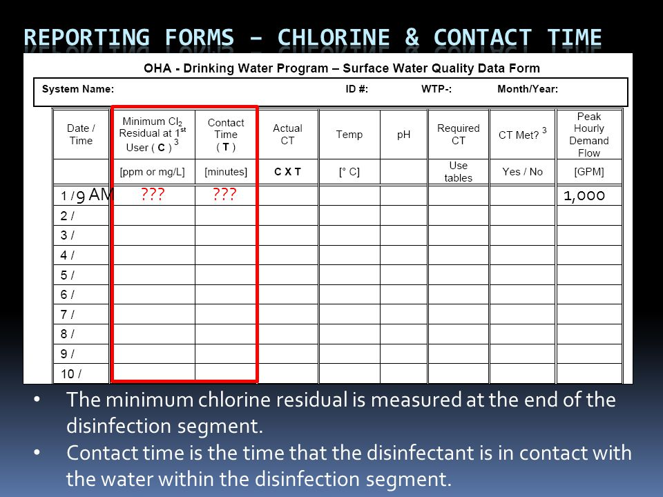 The minimum chlorine residual is measured at the end of the disinfection segment.