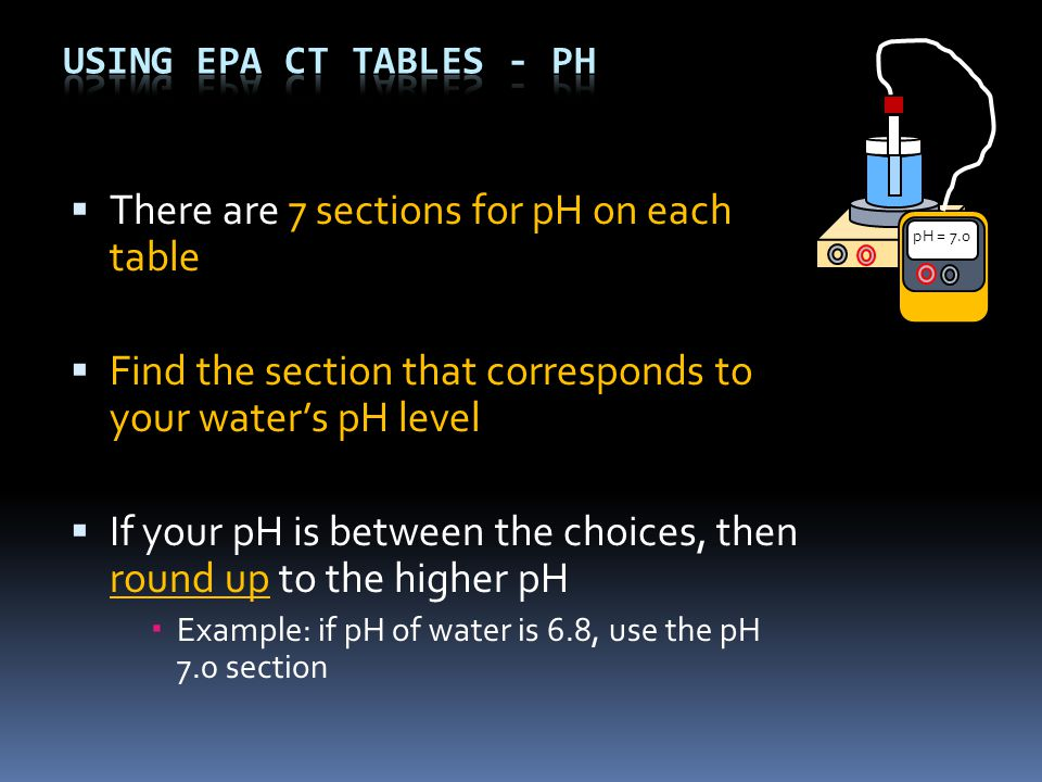  There are 7 sections for pH on each table  Find the section that corresponds to your water's pH level  If your pH is between the choices, then round up to the higher pH  Example: if pH of water is 6.8, use the pH 7.0 section pH = 7.0