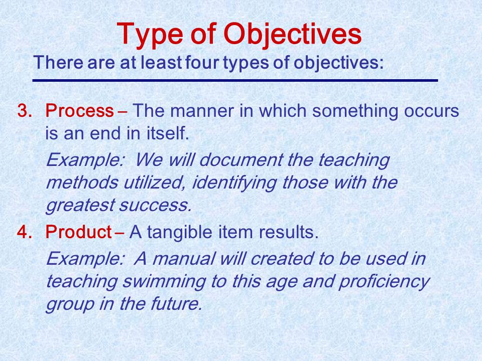 Type of Objectives There are at least four types of objectives: 1.Behavioral – A human action is anticipated. Example: Fifty of the 70 children partic